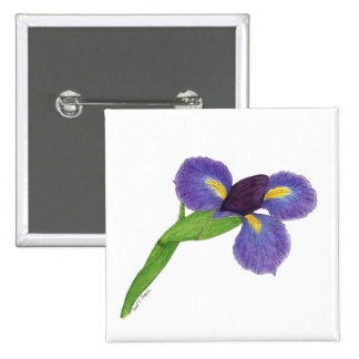 Japanese Iris Blossom Button