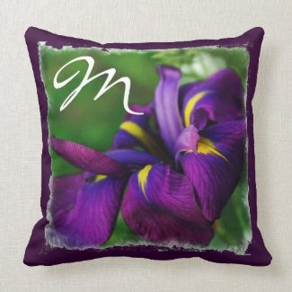 Japanese Iris Initial American MoJo Pillow