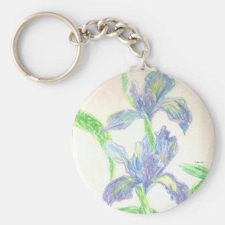 Japanese Irises Basic Round Button Keychain