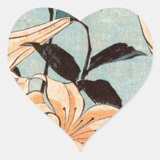 Japanese Irises Heart Sticker