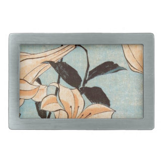 Japanese Irises Rectangular Belt Buckle