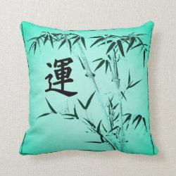 Japanese Jade Luck Bamboo Throw Pillow