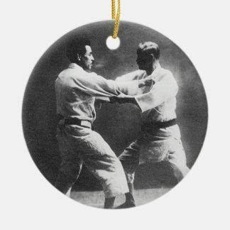 Japanese Judoka Jigoro Kano Kyuzo Mifue Judo Ceramic Ornament