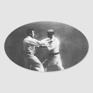 Japanese Judoka Jigoro Kano Kyuzo Mifue Judo Oval Sticker