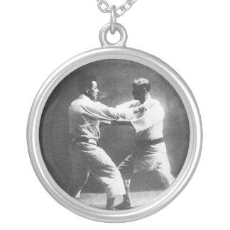 Japanese Judoka Jigoro Kano Kyuzo Mifue Judo Round Pendant Necklace