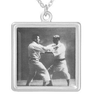 Japanese Judoka Jigoro Kano Kyuzo Mifue Judo Square Pendant Necklace