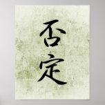 Japanese Kanji for Contradiction - Hitei Poster