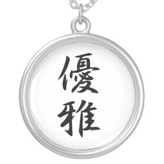 Japanese Kanji for Elegance - Yuuga Silver Plated Necklace