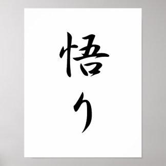 Japanese Kanji for Enlightenment - Satori Poster