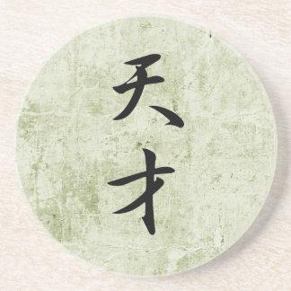 Japanese Kanji for Genius - Tensai Drink Coaster