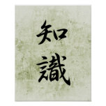 Japanese Kanji for Knowledge - Chishiki Posters