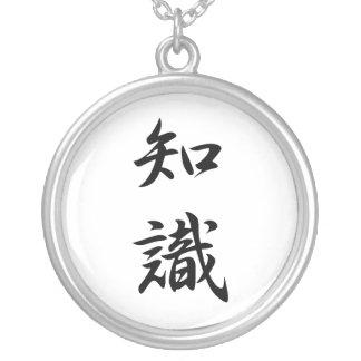 Japanese Kanji for Knowledge - Chishiki Round Pendant Necklace