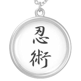 Japanese Kanji for Stealth - Ninjutsu Round Pendant Necklace