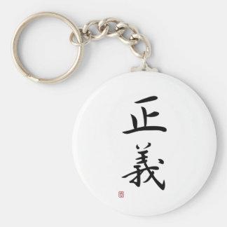 "Japanese Kanji ""Justice"" Basic Round Button Keychain"