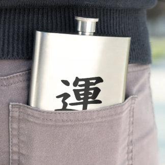 Japanese Kanji Luck Stainless Steel Flask 8 oz