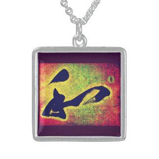 Japanese Kanji 'Wa' - Harmony Silver Necklace, Square Pendant Necklace