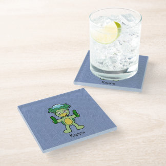 Japanese Kappa Imp: Cartoon Youkai Glass Coaster