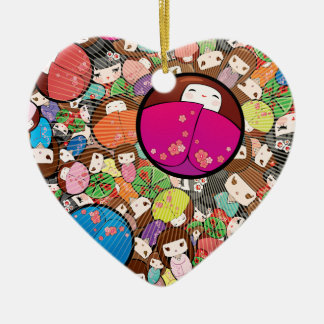 Japanese Kawaii Kokeshi Dolls Ceramic Heart Decoration