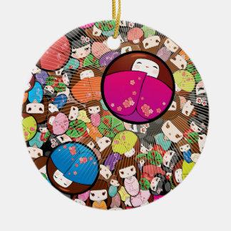Japanese Kawaii Kokeshi Dolls Round Ceramic Decoration