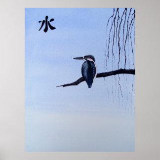 Japanese Kawasemi Kingfisher Feng Shui Water Posters