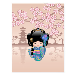 Japanese Keiko Kokeshi Doll Postcard