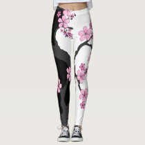 Japanese Kimono Black and White Leggins Leggings