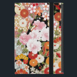 """Japanese Kimono Flower Patterns Powis iPad Mini iPad Mini Cover<br><div class=""""desc"""">The flowers are peonies,  stylized mums,  plum blossoms,  cherry blossoms in pink,  white,  white,  gray and red. Also 2 Japanese graphic patterns in light blue and beige with stripes of red and beige in the black background. This is a digital illustration.</div>"""