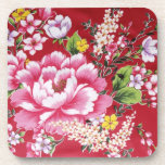 Japanese Kimono Flowers Drink Coasters