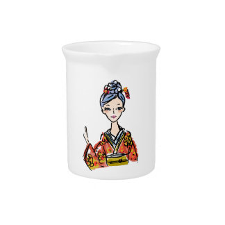 Japanese Kimono Girl. Makes a great gift! Pitcher