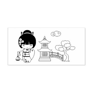 Japanese Kimono Girl Self-inking Stamp