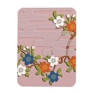 Japanese kimono pattern - mist and cherry blossoms magnet