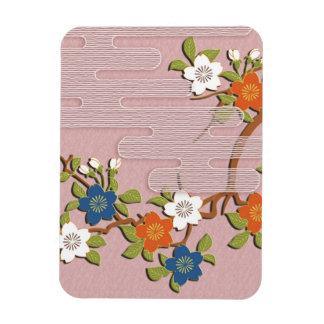 Japanese kimono pattern - mist and cherry blossoms magnets