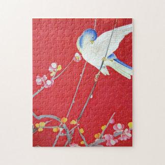 Japanese KIMONO Textile, Bluebird Jigsaw Puzzle