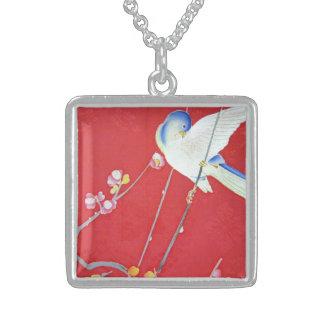 Japanese KIMONO Textile, Bluebird Square Pendant Necklace