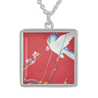 Japanese KIMONO Textile, Bluebird Sterling Silver Necklace