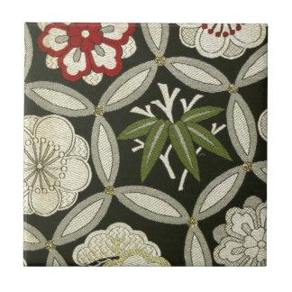 Japanese KIMONO Textile, Floral Pattern Ceramic Tile