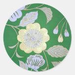 Japanese Kimono Textile, Floral Pattern Classic Round Sticker at Zazzle