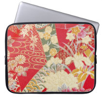 Japanese KIMONO Textile, Floral Pattern Computer Sleeve