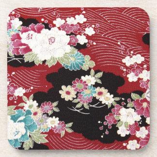 Japanese KIMONO Textile, Floral Pattern Beverage Coasters