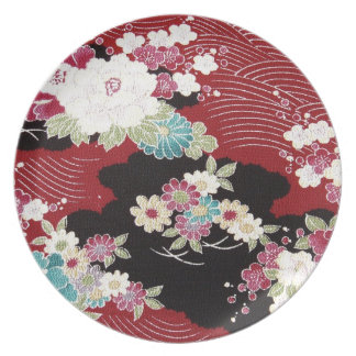 Japanese KIMONO Textile, Floral Pattern Dinner Plate