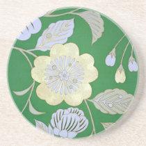 Japanese KIMONO Textile, Floral Pattern Drink Coaster