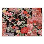 Japanese KIMONO Textile, Floral Pattern Greeting Card