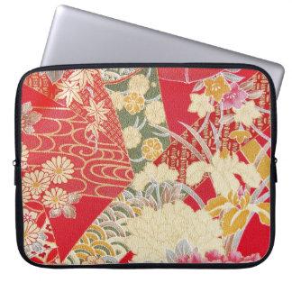 Japanese KIMONO Textile, Floral Pattern Laptop Computer Sleeves
