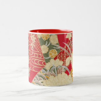Japanese KIMONO Textile, Floral Pattern Two-Tone Coffee Mug