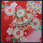 "Japanese KIMONO Textile, Floral Pattern Napkin<br><div class=""desc"">This is a textile design of a Japanese Kimono.</div>"