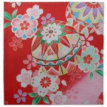Japanese KIMONO Textile, Floral Pattern Napkin