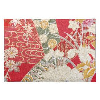 Japanese KIMONO Textile, Floral Pattern Placemats