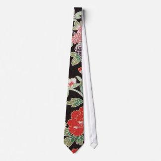 Japanese KIMONO Textile, Floral Pattern Tie