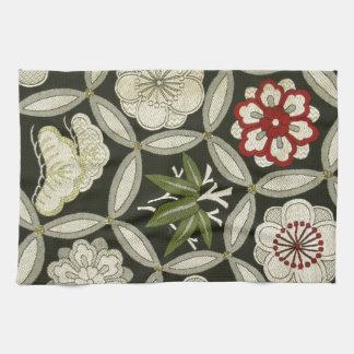 Japanese KIMONO Textile, Floral Pattern Towels