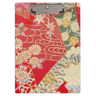 Japanese KIMONO Textile, Floret Pattern Clipboard